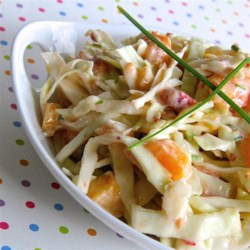 Spicy Peach Coleslaw Recipe - Give your coleslaw a hint of sweet summer flavor with peaches and cabbage in a slightly spicy dressing.
