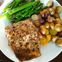 Chef John's Baked Lemon Pepper Salmon Recipe - Lots of lemon juice, black pepper, mustard, miso, and mayo are all it takes to season wild salmon fillets baked in a hot oven.