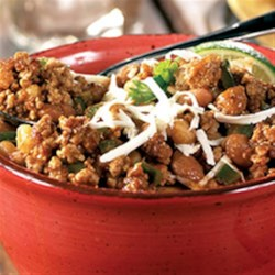 Mexican Pork Chili from Hatfield(R) Recipe - Browned ground pork is simmered slowly with lots of spices, chopped jalapeno and poblano chilies, beans and hominy for a hearty, crowd-pleasing chili.