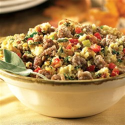 Sage Sausage Corn Bread Stuffing from Hatfield(R) Recipe - Cornbread with bacon is mixed with sage sausage and lots of veggies and herbs for a delicious, savory stuffing for turkey or pork loin.