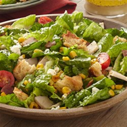 Club Sandwich Salad with Corn and Feta Recipe - The flavors of a club sandwich, including bacon, corn, and feta cheese, are captured in this colorful and tasty salad.