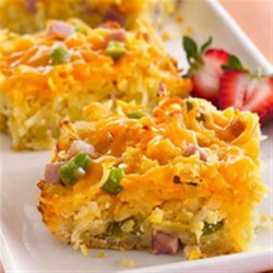 Do-Ahead Breakfast Bake Recipe - Betty Crocker Bisquick II Cookbook shares a recipe! This is a weekend favorite--ham, potatoes, cheese and eggs combined in a simple, yet company-good casserole.