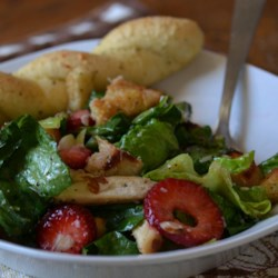 Chicken Berry Salad Recipe - A wonderful composition of grilled chicken with fresh berries and mixed greens, tossed with a fruity honey mustard dressing. A lovely summertime meal.