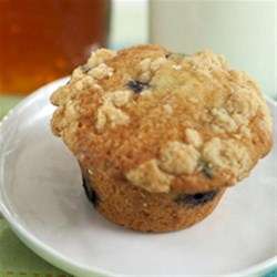 Salted Honey Crumble Blueberry Muffins