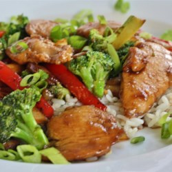 Stir-Fry Chicken and Broccoli Recipe - Sliced chicken breasts and broccoli are stir-fried with a fragrant, spicy mixture of soy sauce, sherry, oyster sauce, garlic, ginger, and sambal oelek, an Asian chile paste.