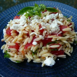Orzo and Tomato Salad with Feta Cheese Recipe - A cold pasta salad with orzo, green olives, feta cheese, parsley, dill, tomato, olive oil, and lemon juice. If you don't have fresh herbs, use 1 teaspoon dried.