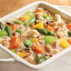 Homestyle 4-Grain Chicken Soup Recipe - Chicken soup with lots of veggies, chicken, and whole grains is ready in just minutes.