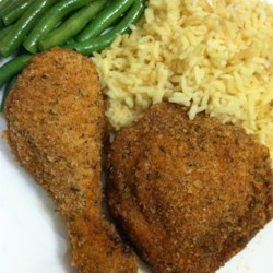 Oven Fried Chicken III Recipe - A mayonnaise coating ensures a juicy chicken in this well-seasoned, breaded chicken dish.