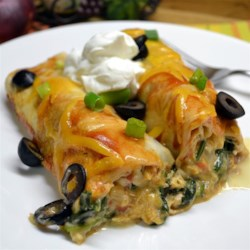 Spinach and Chicken Enchiladas Recipe - Chicken and spinach with lots of cheese fill flour tortillas that are topped with enchilada sauce and more cheese.