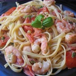Shrimp Linguine Recipe - Pasta with shrimp in a creamy cheese and herb sauce. I created this dish after trying a similar dish at a restaurant.  It's wonderful!