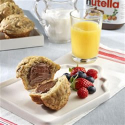 Banana Buttermilk Breakfast Muffins topped with NUTELLA®