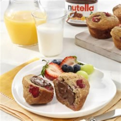 Breakfast Muffins topped with NUTELLA(R) Recipe - A delicious breakfast on-the-go that you can prepare ahead of time!