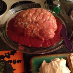 Halloween Shrimp Cocktail Brain Recipe - With a plastic brain mold, you can make a delicious shrimp cocktail gelatin mold that is almost too creepy to eat! Serve with assorted crackers, baguette slices, cucumber slices, and celery sticks.