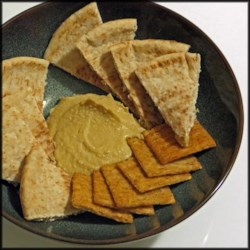 Wasabi and Soy Sauce Hummus Recipe - A Middle Eastern staple takes a trip to the Orient with the addition of wasabi and soy sauce in this hummus recipe.
