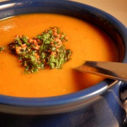 Moroccan Vegetable Soup Recipe - Parsnips, carrots, and pumpkin seasoned with lemon and cilantro make a great cold-weather soup. The garnish is a pretty touch but is optional.