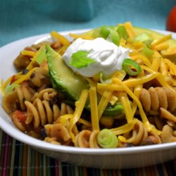 Carole's Chili Mac Recipe - Whole wheat macaroni gives this spicy, vegetarian chili and extra boost of heartiness for a warm and filling weeknight dinner.