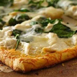 Parmesan Crusted Chicken Alfredo Pizza Recipe - A Parmesan crust enhances this Alfredo pizza.
