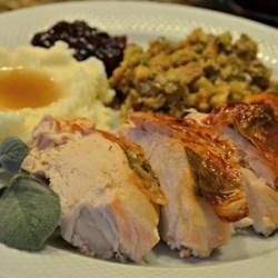 Maple Basted Roast Turkey with Cranberry Pan Gravy