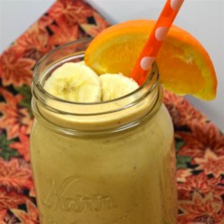 Perfect Peach Smoothie Recipe - Frozen peaches and banana bring fruity deliciousness to this smoothie.