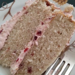Cranberry Cake Recipe - This is a wonderful moist and full bodied cake. The frosting is creamy and very colorful.