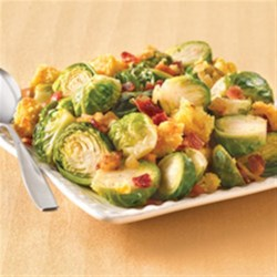 Beyond-Compare Brussels Sprouts Recipe - This accompaniment combines the popular holiday flavors of corn, stuffing and Brussels sprouts in one satisfying dish.