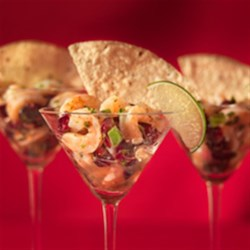 Cranberry Shrimp Ceviche Cups Recipe - Tart cranberries add a holiday twist to a refreshing appetizer favorite.