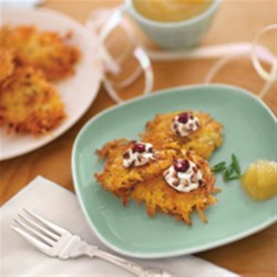 Goat Cheese and Cherry Latkes Recipe - Not your traditional potato pancakes.