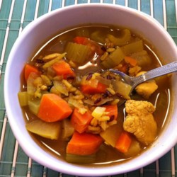 Tom's Mulligatawny Soup Recipe - Mulligatawny is an Indian-style soup. This recipe simmers chicken, apples, onion, carrots, bell pepper, and celery in broth seasoned with curry powder and cloves.