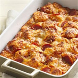 Grands!(R) Pepperoni Pizza Bake Recipe - You won't believe how quickly this pan pizza goes together!
