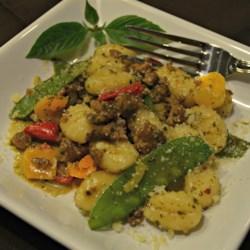 Creamy Pesto Gnocchi with Italian Sausage