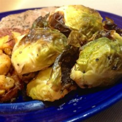 Duck Fat-Roasted Brussels Sprouts Recipe - Brussels sprouts are tossed with duck fat and roasted in a hot oven for a terrific side dish.