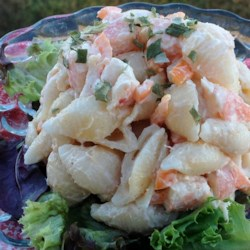 Shrimp and Pasta Shell Salad Recipe - Mix small, tender shrimp into a summery pasta salad for a special touch.