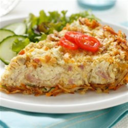 Artichoke and Ham Quiche with Cheesy Hashbrown Crust