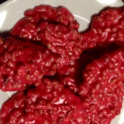 Microwave Peanut Patties Recipe - These are kind of like peanut brittle cookies!  Sugar, corn syrup, butter, vanilla extract and red food coloring are microwaved with peanuts to make these simple, no bake cookies.