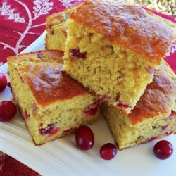 Cranberry Corn Bread Recipe - Sweet, tangy cranberries add their flavor and color to a made-from-scratch corn bread that's perfect for the holiday table.