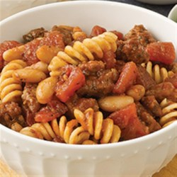 Contadina(R) Italian Chili Recipe - This not-too-spicy chili with Italian sausage, cannellini beans, and tomatoes with garlic is ready to ladle up in less than  30 minutes.