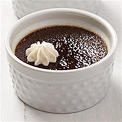 Dark Chocolate-Cherry Creme Brulee Recipe - Rich dark chocolate, tart cherries and kirsch baked in individual ramekins make a delicious variation on traditional creme brulee.
