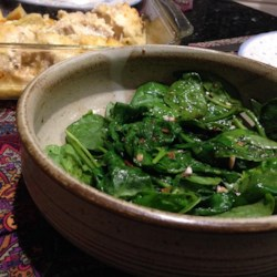 Wilted Spinach Recipe - Delicious wilted spinach with a simple Mediterranean dressing.
