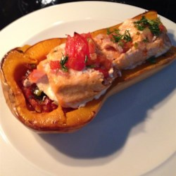 Butternut Squash and Trout Bake with Fresh Salsa Recipe - Hearty butternut squash is baked with fresh salsa and trout fillets for a filling main dish for two.
