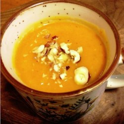 Banana Squash Soup with Sweet Potato and Green Apple Recipe - Banana squash, sweet potatoes, and green apples are simmered and blended together creating a warm and light soup for winter days.
