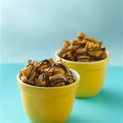 Chex(R) Caramel Chocolate Drizzles Recipe - This easy candy snack, made with caramel, chocolate and Chex(R) cereal is outstanding!