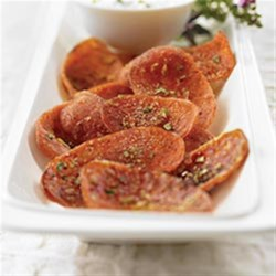 Margherita(R) Crispy Pepperoni Chips Recipe - Margherita(R) Pepperoni dusted with garlic and parsley and baked until crispy, paired with a creamy dipping sauce.