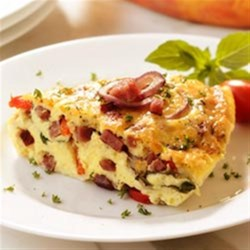 Salami Frittata Recipe - Bring some excitement back to breakfast by dressing up your scrambled eggs with rich Asiago cheese, onions, crispy peppers and the robust flavor of Margherita(R) Genoa or hard salami.