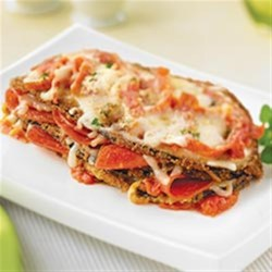 Eggplant Parmigiana with Margherita(R) Pepperoni Recipe - A family favorite layered with lightly breaded eggplant, savory pepperoni, tangy tomato sauce and mozzarella cheese.