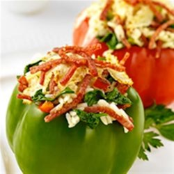 Margherita(R) Pepperoni Spinach and Rice Stuffed Peppers Recipe - A fresh take on the classic baked, stuffed pepper, bursting with chopped, thick-sliced Margherita(R) Pepperoni, baby spinach, rice and bubbling provolone cheese.