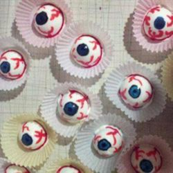Spooky Halloween Eyes Recipe - Spook everyone at your next Halloween party with these 'eye balls' made with hard-boiled eggs painted with food coloring.