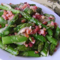 Pancetta Tarragon Asparagus Recipe - Crispy pancetta is pan-fried with asparagus and tarragon for a flavorful side dish perfect for any occasion.