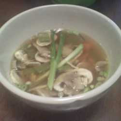 Easy Japanese Steakhouse Soup Recipe - A few simple ingredients  - chicken stock, carrots, snow peas, chicken, and seasonings - combine to make a quick and tasty soup.
