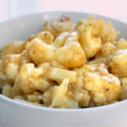 Curried Cauliflower Recipe - Simple curried cauliflower, using cream of chicken soup as a base for the sauce.