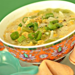 Chinese Corn Soup Recipe - This Chinese restaurant-style corn soup with egg threads is enriched and thickened with butter and a little flour, and flavored with a hint of nutmeg.